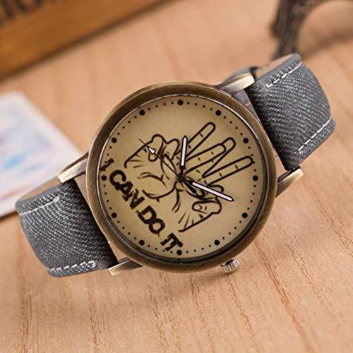 Relojes de Pulsera Reloj de Mano Reloj de Pulsera Reloj de Graffiti Retro Harajuku Británico País Coreano Yes Comics de Mezclilla Personalidad de la Calle Reloj de Correa de Lona, Bernice Funk, neg