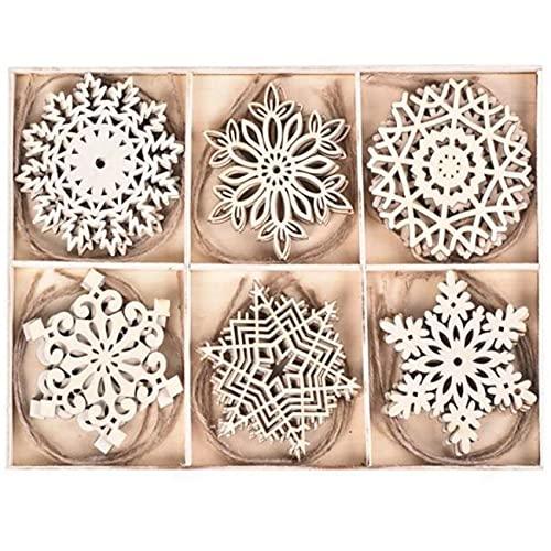 Mungowu 24 cajas de copos de nieve vintage de madera, decoración de árbol de Navidad