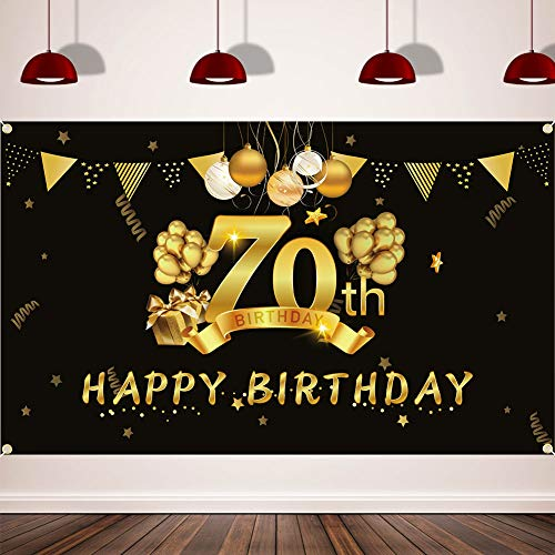 Happy 70th Birthday Background Banner, Extra Large (3.6 ft x 6 ft) Fabric Sign Poster for 70th Birthday Party, 70th Birthday Photo Booth Backdrop Banner, 70th Birthday Party Decorations Supplies