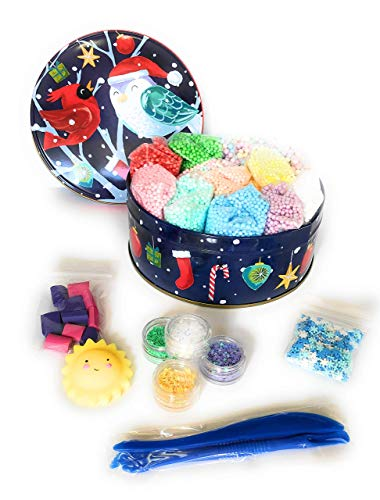 Christmas Bird Foam Beads for Slime 21 Pack Supplies Kit - Include Colorful Pastel Xmas Colors Foam Balls, Confetti, Java Chip & Squishy + Slime Tools Set | for Kids DIY Homemade Slime Art Craft Decor