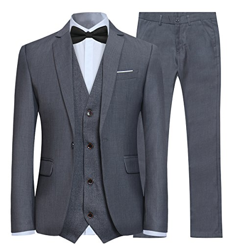 Anzug Herren Slim Fit 3 Teilig Anzüge Modern Herrenanzug 3-Teilig Sakko Hose Weste für Business Hochzeit Grau Large
