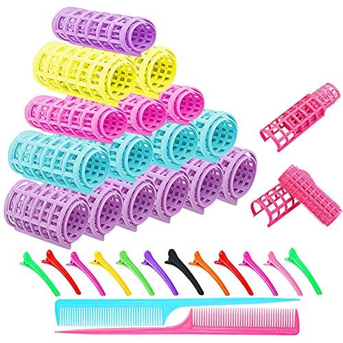 Kit de rodillos de pelo autoadherentes – 18 rulos de pelo a presión (3.5/3/2 cm) + 12 clips de plástico para pato + 2 peines de cola, rizadores de peluquería para cabello medio y largo