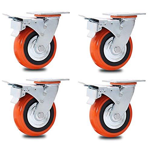 Ruedas de repuesto resistentes con ruedas giratorias de freno, ruedas de repuesto para portaequipajes, ruedas de poliuretano resistentes al desgaste, 100/125/150/200 mm, 4 paquetes de carga de 1600 kg