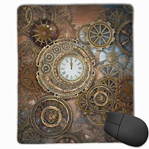 N\A Rusty Steampunk con Reloj y Diferentes Tipos de Engranajes Alfombrilla de ratón Alfombrilla de ratón Linda Alfombrilla de Goma con Borde Cosido Alfombrilla de ratón Impermeable para Oficina