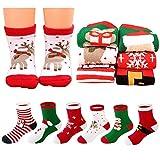 MMTX Navidad calcetín lindo de algodón Animal de dibujos animados reno de Santa Claus antideslizante Unisex 6 pares calcetines de Navidad regalos para niño niña 0-10T (L)