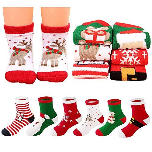 MMTX Weihnachten Nette Socke Baumwolle Cartoon Tier Weihnachtsmann Rentier Anti Slip Unisex 6 Paar Xmas Socken Geschenke für Kleinkind Baby Mädchen 0-10 T