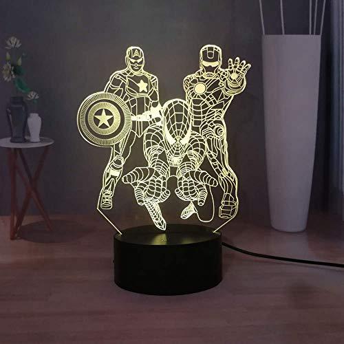 Iron Man Spider-Man Captain America Battle 3D Illusion Desk Lamp Marvel Comic LED Night Lights The Avengers Fans Best Gift USB Remote Table Lamp Children Birthday Holiday Present