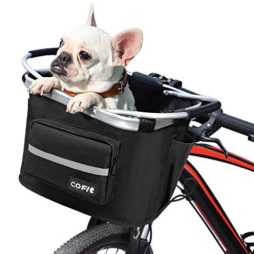 COFIT自転車バスケット、折りたたみカゴ 防水 取り付け簡単 脱着式多目的自転車用ハンドルカゴ ペット、ショッピング、通勤、キャンプ、アウトドア向け 最新型 ブラック