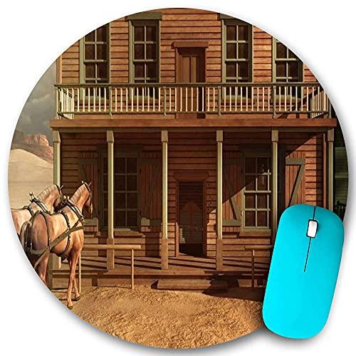 Rundes Mauspad, alte Western Vintage Holzhaus Bar Bar Pferdeszene, rutschfeste Gummibasis Office Home Mauspads Klein 7,9x7,9 in Gaming Mousemate