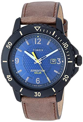 Timex Men's TW4B14600 Expedition Gallatin Solar Brown/Black/Blue Leather Strap Watch
