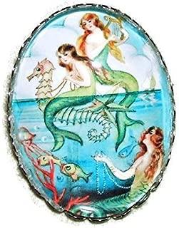 VINTAGE MERMAIDS BROOCH PIN Silver Pltd with GLASS Dome Ocean Friends Sea Sirens