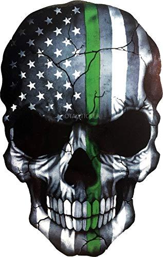 OTA STICKER BUMPER VINYL SKULL SKELETON DEVIL GHOST MONSTER ZOMBIE DEAD AMERICAN FLAG SUBDUED THIN GREEN LINE ARMY MILITARY RANGER BORDER PATROLS FEDERAL DECAL LAPTOP and WATER BOTTLE PROUD for HALLOWEEN DIY HELMET DECOR LUGGAGE GIFT