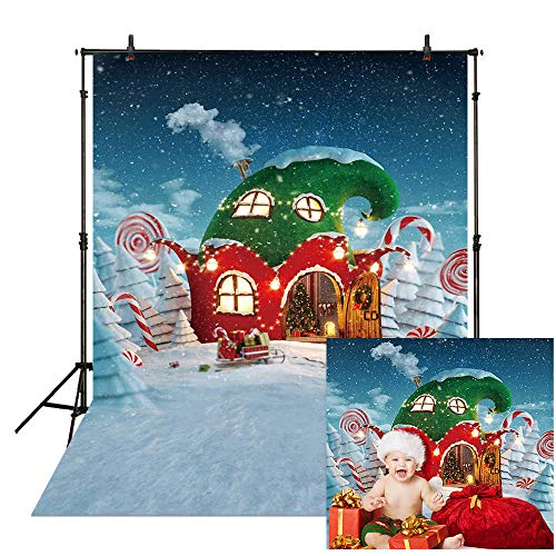 Allenjoy 5x7ft Christmas Candy Canes House Backdrop for Kids Photography Winter Snowflake Snow Fairy Tale Xmas Party Decoration Baby Children Holiday Portrait Background Photo Booth Photoshoot Props