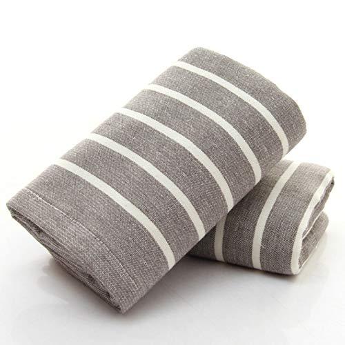 CMZ Toalla de algodón a Rayas de Tela Gasa Japonesa para Adultos Toalla Grande Toalla Facial Toalla General Absorbente Simple (33x76cm)