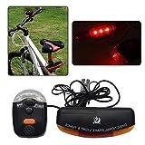 Luz Trasera de Bicicleta de 7 LED, Riloer Indicador de Señal de Giro de Freno, Campana de Lámpara de Cuerno para Ciclismo al Aire Libre