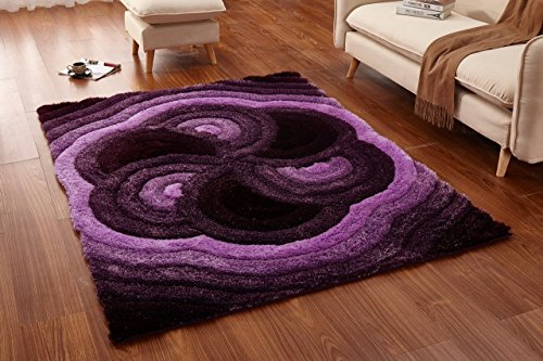 Abstract Floral Spiral Swirl Purple Soft Shag Area Rugs 5 x 7