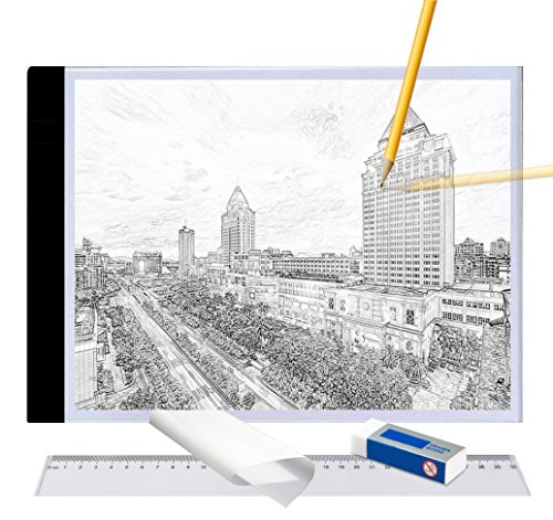 A4 Ultra-Thin Portable LED Light Box Tracer USB Power LED Artcraft Tracing Light Pad Light Box w Tracing Paper Ruer Erase for 5D DIY Diamond Painting,Artists,Drawing,Sketching,Animation
