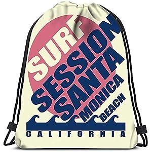 515ID0mcTXL. SS300  - Saco De Gimnasio Deporte,Mochila Con Cordón,Bolsas De Cuerdas Gimnasio,Surfing Santa Monica Beach California Surfers…