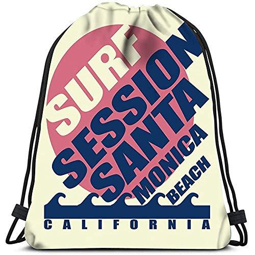 Saco De Gimnasio Deporte,Mochila Con Cordón,Bolsas De Cuerdas Gimnasio,Surfing Santa Monica Beach California Surfers…