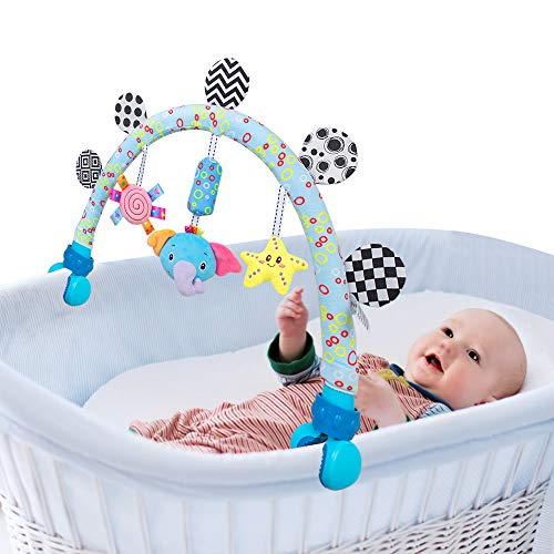 caterbee Travel Arch Stroller toys for Infant & Toddlers,Baby Crib Accessory and Pushchair & Pram Activity toys for Senses and Motor Skills Development indoor and outdoor (Elephant)