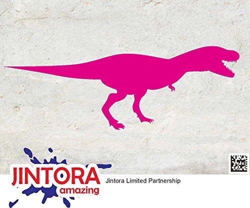 JINTORA Sticker/Car decal - T-Rex dinosaurussen - 149x53mm - JDM/Die cut - Bus/window/laptop/coach/Truck roze