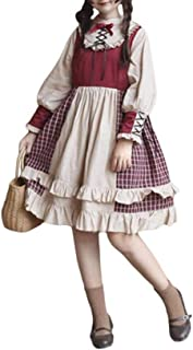 LANUVER ワンピース レディース cosplay lolita ロリータ ゴスロリ コスプレ カチューシャ ヘッドドレス 大きいサイズ 森ガール ゴシック 洋服 長袖 スカート ブラウス 女装 ゆめかわいい 通学 通勤