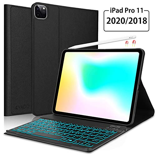 iPad Pro 11 Keyboard Case 2018/2020(1st / 2nd Generation), Protective Folio Case Cover with Detachable Wireless Backlit Keyboard for iPad Pro 11 inch 2020,2018, Black