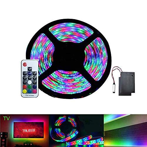 LED-Lichtleiste Batteriebetriebener Regenbogeneffekt RGB Flexibel 5M / 16,4 FT Wasserdicht Dimmbar mit RF-Fernbedienung für Innen- und Außendekoration