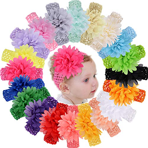 WillingTee 20pcs Baby Girls Headbands Chiffon Flower Soft Stretchy Hair Band Hair Accessories for Baby Girls Newborns Infants Toddlers and Kids