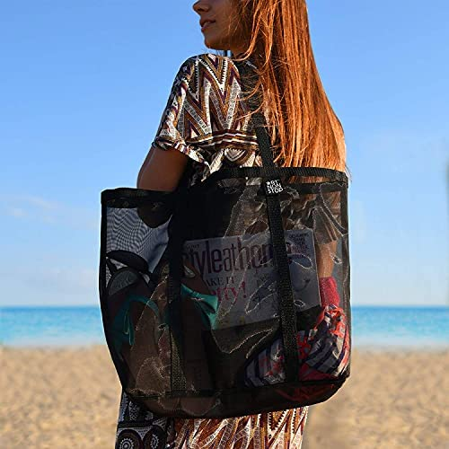 Mesh Beach Bag - Durable Tote Bag- Simply lightweight for Shopping Groceries Sports Gym Swimming Pool Travel Tote Bag