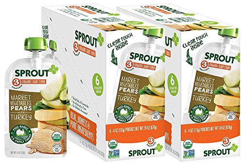 Sprout Organic Baby Food Pouches Stage 3 Sprout Baby Food, Market Vegetables Pears with Turkey, 4 Ounce (Pack of 12); USDA Organic, Non-GMO, 3 Grams of Protein, Free Range Turkey