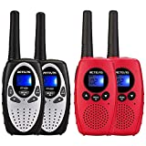 Retevis RT628 Kids Walkie Talkies,2 Way Radio Gift for Boys and Girls(Silvery,2 Pack) and Retevis RT628B Walkie Talkies for Kids 5-7 Year Old,Children Gift to Outside Adventure(Red,2 Pack)