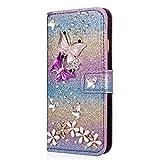 YKTO Funda Soporte Billetera para Samsung Galaxy S6 Edge 5.1' Cáscara Personalizada Brillando Color Degradado PU Cuero Estéreo 3D Mariposa Diamante Flores Cases Cuerpo Completo Antichoque Estuche