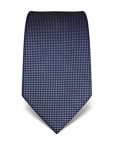 Vincenzo Boretti Herren Krawatte reine Seide gestreift edel Männer-Design zum Hemd mit Anzug für Business Hochzeit 8 cm schmal/breit dunkelblau