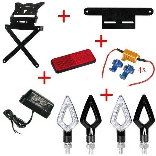 Kit pour moto support de plaque d'immatriculation + 4 Flèches + lumière plaque d'immatriculation + réflecteur + Support + 4 résistances Lampa Yamaha MT – 01 sP 1670 2009 – 2017