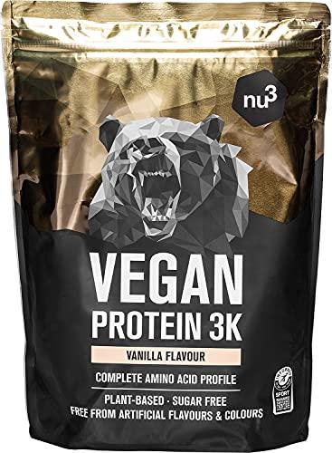 Vegan Protein 3K Shake - 1 Kg Vanille Flavor - Pflanzliches Proteinpulver mit Reis-, Sonnenblumen-, Erbsen- & Johannisbrotprotein - Eiweisspulver aus 3-Komponenten mit 72% Eiweiss - nu3