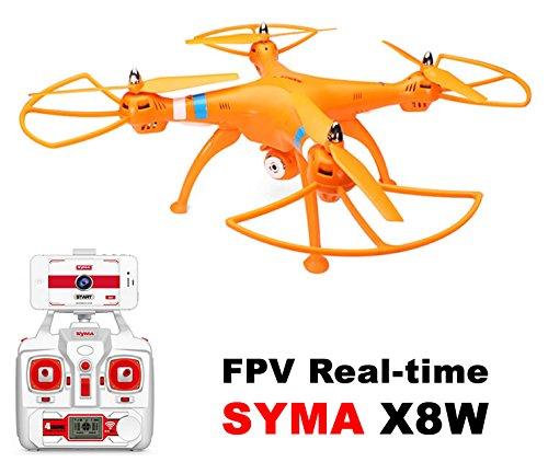 Drone dron grande SYMA X8W Naranja FPV cámara HD 2MP WIFI COMPLETO con batería LIPO 6 ejes / Dron con cámara WIFI / Envía la imagen de video en tiempo real a su movil / fácil de encontrar repuestos
