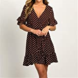 Kai&Guo Chiffon-Kleid mit Punkten, sexy, tiefer V-Ausschnitt, Mini-Partykleider, Rüschen, Sonnenkleid, Schmetterling, kurzärmelig, Vintage, Vestido, 7471 Braun, XL