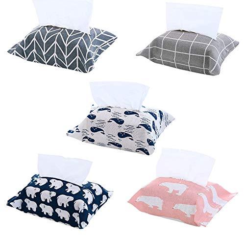 ROBAKO Caja de pañuelos de Tela de Lino y algodón Desmontable, Caja de pañuelos de Coche, Bolsa de Papel higiénico, Bolsa de Papel de Seda Creativa (5 Piezas)
