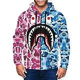 Pink Blue Bape Blood Shark Men's 3D Sportswear Hoodie Full Zip Hooded Sweatshirt Jacket