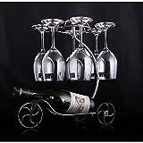 LIANYG Decorativo Bastidores de Vino Titular de la Botella cuelga Upside-Down Copa Copas Estante de exhibición del Vino del Hierro Soporte Artes Diseño botellero Vino 552 (Color : Plus High Coppery)