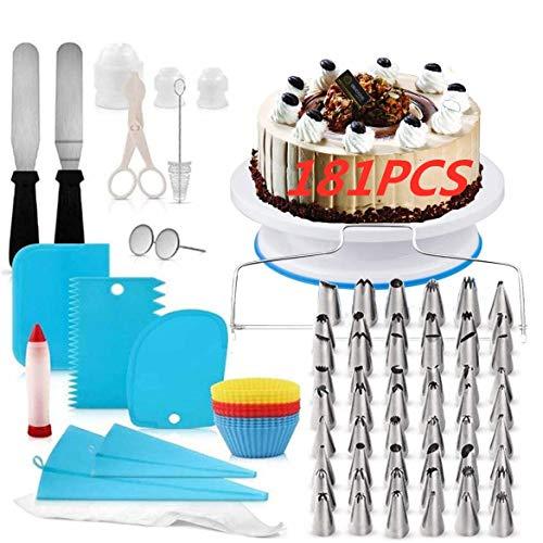 Torta Giratoria y Boquillas,Boquillas para manga pastelera,Cake Turntable,Decoración de Pasteles Kit,Torta Giratoria,Plato...