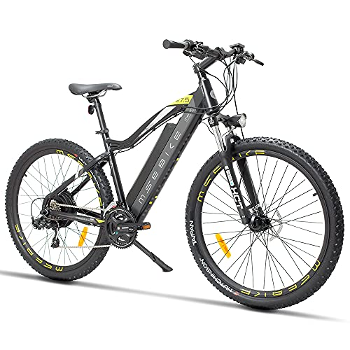 SAWOO 27,5 Zoll Elektrisches Mountainbike 400W 13ah Abnehmbare Batterie-Scheibenbremse, Shimano 21-Gang, Strand-Elektrofahrrad für Erwachsene