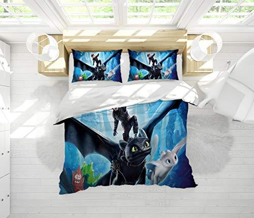 Microfiber Duvet Cover Set How to Train Your Dragon 3 Pieces (1 Duvet Cover + 2 Pillow Shams) Full Size