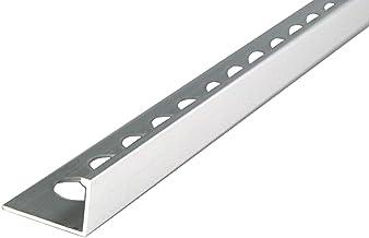 mat/ériau de 1 mm 50 M/ÉTRE rail de 250cm Hauteur: 12,5mm PR/ÉMIUM profil/é pour carrelage quart de rond aluminium argent p/âle