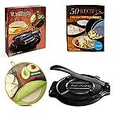 Tortillada – Prensa de Hierro Fundido para Hacer Tortillas + Recetas (25cm) Set + Tortilla Warmer