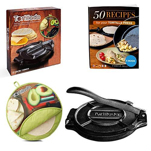 Tortillada - 25cm Tortillapresse aus Gusseisen + Tortilla Wärmer + E-Book mit 50 Tortilla Rezepten auf Deutsch