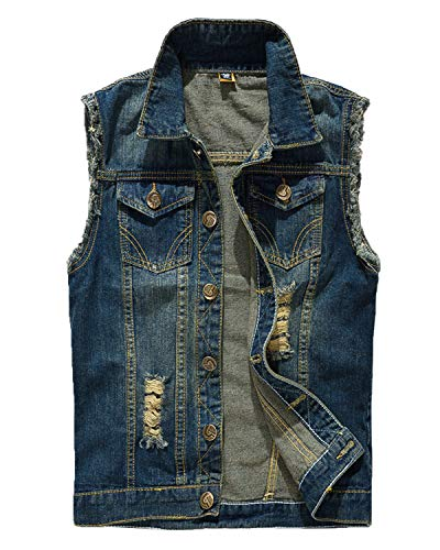 Pishon Men's Sleeveless Denim Vest Casual Slim Fit Ripped Classic Button Down Jean Jacket,Light Dark Blue,Tagsize4XL=USsizeM