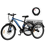 Viribus 7-Speed Adult Tricycle w Adjustable Handlebars and Seat Three-Wheel Mountain Bicycle for Men and Women Complete Beach Cruiser Trike with Basket Lights Bell for Adults (Blue2, 26'/7-Speed)