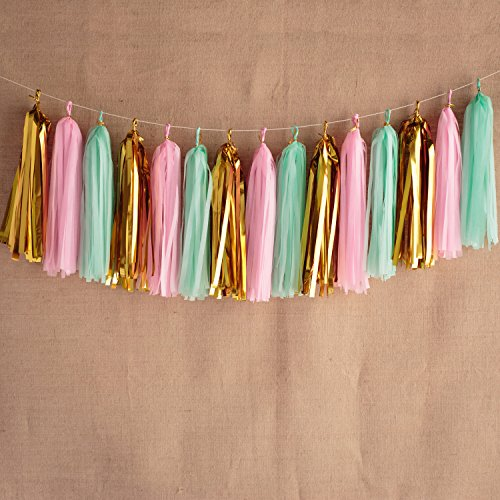 KOKER Tassel Garland, Tissue Paper Tassels for Wedding, Baby Shower, Event & Party Supplies, 15 pcs DIY Kits - Packaged With Instructions(Pink+Metallic Gold+ Mint Green)